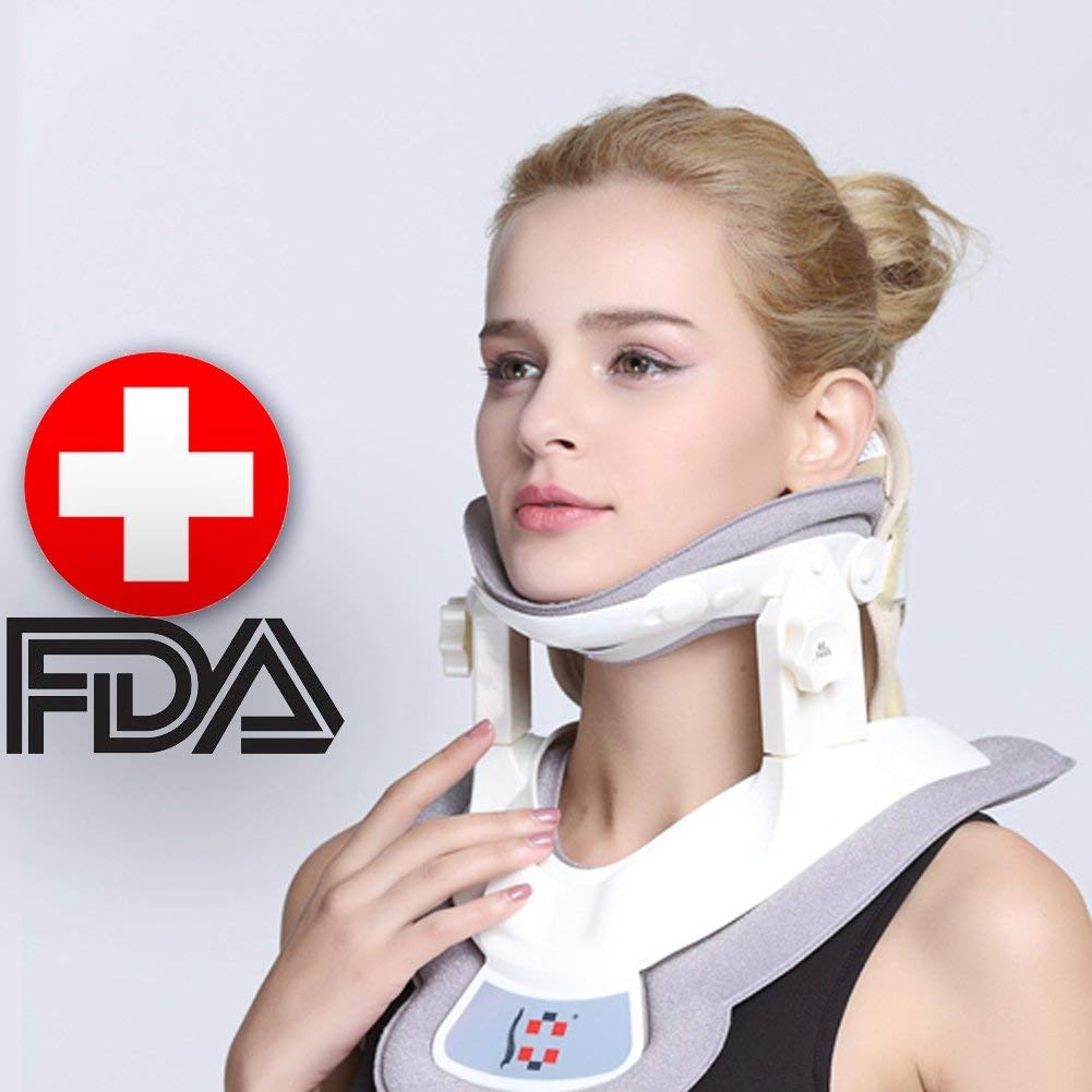 Cervical Neck Traction Device - Neck Massager & Collar & Brace - Neck & Shoulder Pain Relief - Stretcher Collar for Travel/Home Improved Spine Alignment